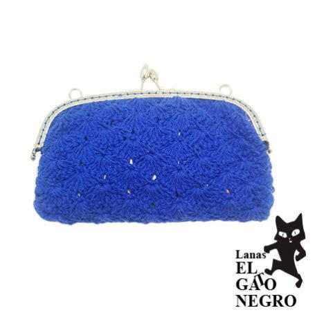 bolso de ganchillo azul